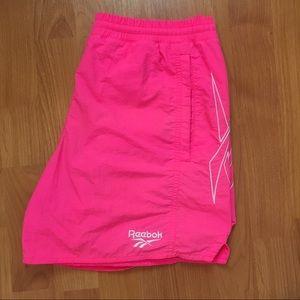 Vtg Reebok Neon Pink Logo Swim Trunks Medium